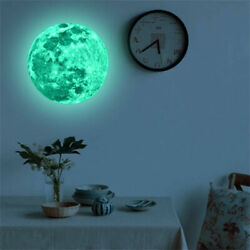 Creative 3D Large Moon Glow In The Dark Fluorescent Wall Sticker Decal ship free