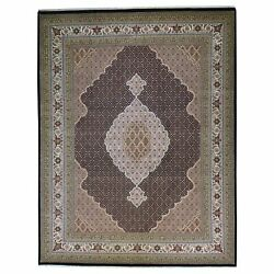 Hand-knotted Traditional Design Handmade Wool And Silk Rug 8.11 X 11.11 Brral-6372
