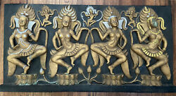 Dancing Topless Hindu Women Relief - Indian Wall Plaque 27 3/4 X 13 7/8 Inches
