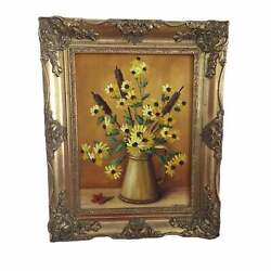 Clarence I. Dreisbach Yellow Daisies Oil On Board Painting Signed