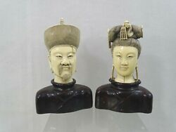 Fine Antique Hand Carved Chinese King And Queen / Emperor And Empress Oriental China
