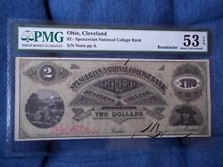 1850 2 Cleveland Ohio Spencerian Business College Rare Obsolete Currency Pmg 53