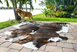 Amazing Rodeo Brazilian Brindle cowhide size approx 5X6 6x6 feet