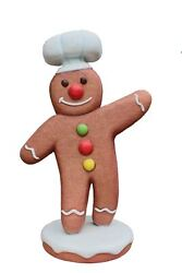 Gingerbread Man Chef 1 Christmas Cookie Display Prop Decor Statue