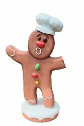 Gingerbread Man Chef 3 Cookie Display Prop Christmas Decor Statue