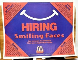 Rare Original 1999 Mcdonalds Hiring Smiling Faces See Manager Interview Placemat