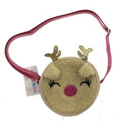 Limited Too Girls Brown and Pink Reindeer Round Cross Body