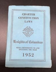 Old Vintage 1952 Knights Of Columbus Charter Constitution Laws Book Freemason