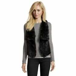 NWT Wyatt Womens Faux Fur Shawl Vest Black Mink Size Large