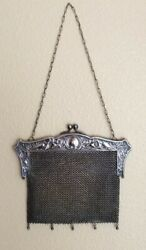 Antique German Silver Mesh Chain Link Mail Purse Embossed Evening Bag
