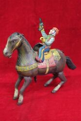 Wind Up Tin Toy Horse Rider Man Old Vintage Antique Collectible Pi-7