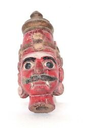 Rakshsa Face 1900and039s Old Wooden Carved Real Antique Decorative Collectible Q-48