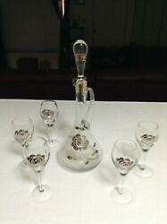 Elegant Vintage Crystal Silver Anniversary Decanter W/ 5 Wine Glasses And Stopper