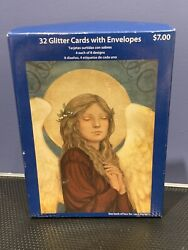 32 Glitter Cards With Envelopes, Christmas, Vintage, Sealed, Paper Magic Group ✨