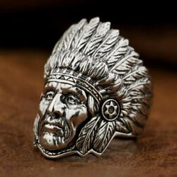 Indian Chief Ring 925 Sterling Silver Mens Biker Rock Punk Ring Ta89a Us 7 To 15