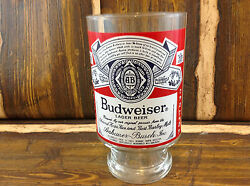 Vintage - Large Budweiser - Hand Blown - Beer Glass 6.75 Height 3.75 Top Diame