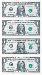 1 Frn 4 Consec Notes/one With 295 Plate Error 1995 Chicago Federal Reserve Note