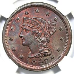 1847 N-22 R-3+ Ngc Ms 64 Rb Braided Hair Large Cent Coin 1c