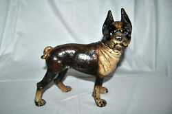 ANTIQUE HUBLEY STYLE PAINTED CAST IRON BOSTON BULL DOG TERRIER