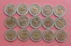 Ussr-russia 1991-1994 Red Data Book 5and10and50 Rubles Bi-metallic 15 Coins Set