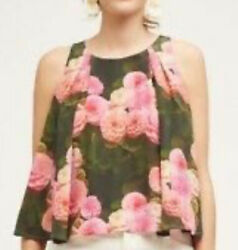 New Sold Out Anthropologie The Odells Juno Sm Green Pink Floral Sleeveless Swing