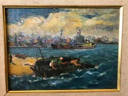 George Beline Signed Oil Painting Of Fishing Boats In Provincetown