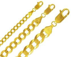 14k Solid Gold Open Cuban Link Chain 3-10.5mm Men Women Curb Chain Necklace
