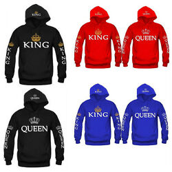 King &Queen Matching Couple Hoodies Love Matching His and Her Fleece shirts Tops $12.99