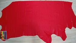GENUINE RED  FIRE RED LEATHER COWHIDE SIDE SMOOTH GRAIN 2-3 oz MATTE FINISH
