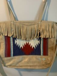 Watson And Mayberry Handsewn Upcycled Leather Navajo Fringe Bag Tote Arrow Ooak