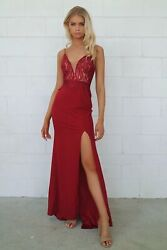 Wine Red First Love Lace Detailing Mermaid Train Formal and Events Gown AU $159.99