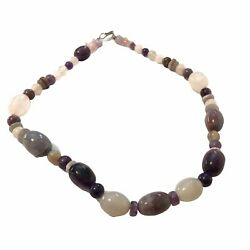 """20"""" Vintage Purple And White Heavy Jade Bead Necklace W/ Rose Quartz Chips"""
