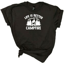 Camping T Shirt Designs On Gray White Or Black Shirt  $11.99