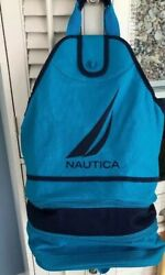 Nautica Insulated Beach Cooler Tote Collapsible Holds 18 Cans Mesh Backpack Blue $25.00