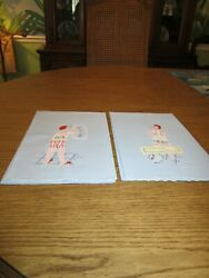Vintage 50's Linen Hand Towels His And Hers Naughty Hand Towels