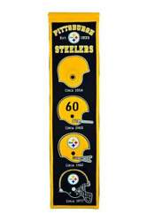 Pittsburgh Steelers Heritage Banner Embroidered Wool 8x32 W/ Hanging Rope