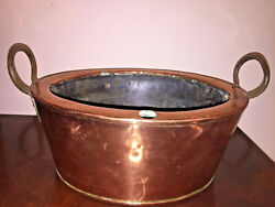 Antique Solid Copper Wrought Iron Handles Cooking Pot Garden Kitchen Fireplace