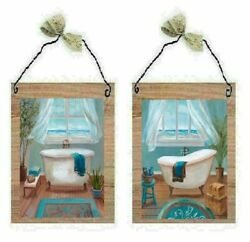 Victorian Bathroom Pictures Teal Blue Paris Style Tub Bath Wall Hangings Plaques