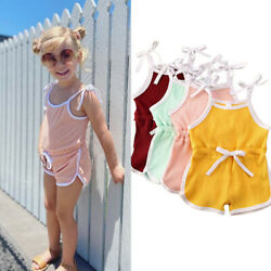 Toddler Baby Girls Rompers Summer Overalls Belt Jumpsuits Playsuit Clothes 0-6Y