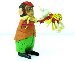 Vintage 1930's Schuco Monkey Holding Mouse Vg Condition. Windup Strong.