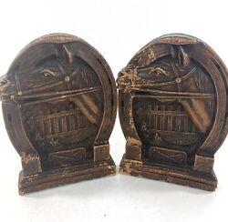 Vintage Mid Century Ornawood Equestrian Horse Shoe Bookends