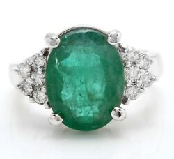 5.31 Carat Natural Zambian Emerald And Diamonds In 14k Solid White Gold Ring