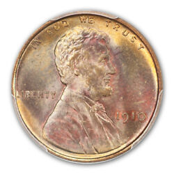 1910 1c Lincoln Cent - Type 1 Wheat Reverse Pcgs Ms67rb