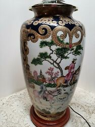 Estate Vintage Chinese Lamp Fox Hunting Scene Hand Painted