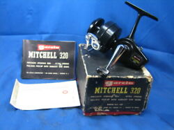 Vintage 60and039s Garcia Mitchell 320 Spinning Reel W/box And Paperwork Never Spooled