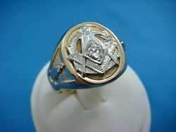 14k Two-tone Gold 16.1 Grams And 0.33ct Diamond Vs-clarity Vintage Masonic Ring