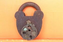 Iron Lock And Key Old Vintage Antique Very Rare Design Collectible F-6