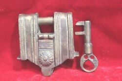Iron Lock And Key Vintage Old Antique Home Decor Collectible Pu-62