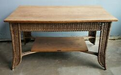 Heywood Wakefield Mission Style Oak And Wicker Library Table Arts And Crafts