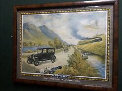 Rare Vintage Chevrolet Advertisement Litho On Thick Card Stock Trolley Sign